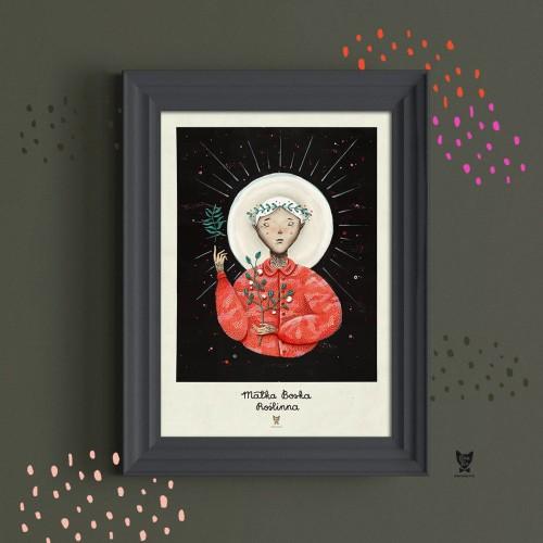 Plakat Matka Boska Roślinna Czerwony