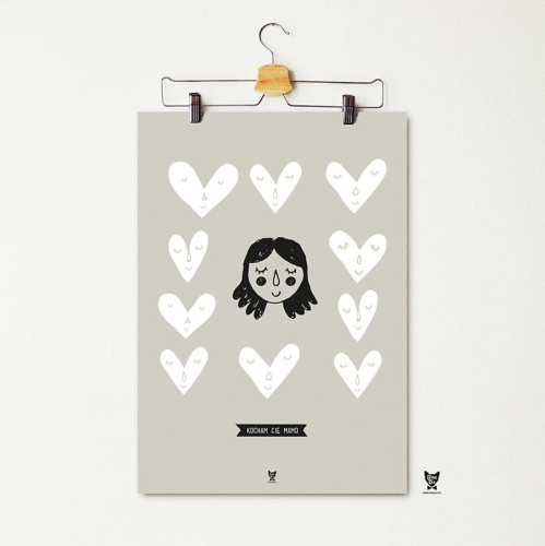 Plakat Kocham Cię Mamo Szary